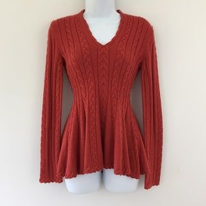 Antonio Melani Peplum Sweater Burnt Orange XS